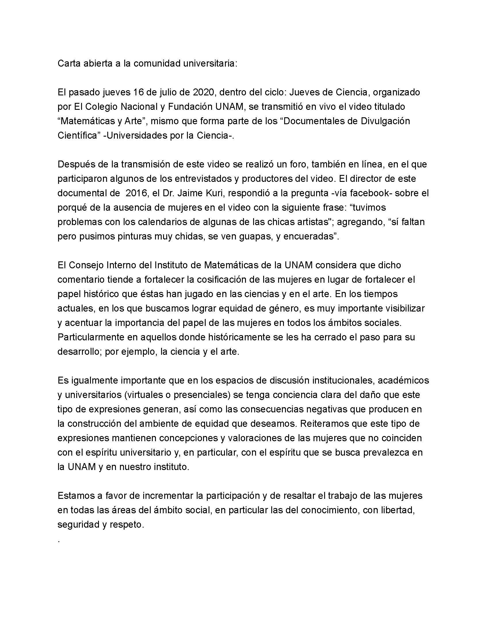 """Carta abierta a la comunidad universitaria sobre el pasado #JuevesDeCiencia en que se transmitió el documental """"Matemáticas y Arte"""" dirigido por Jaime Kuri"""