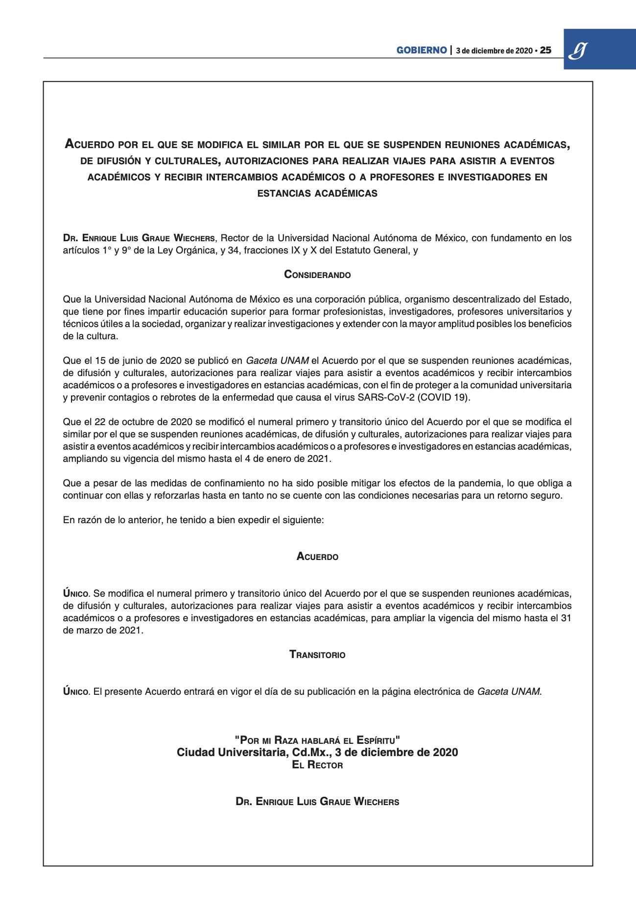 Acuerdo suspenden actividades académicas 04 dic