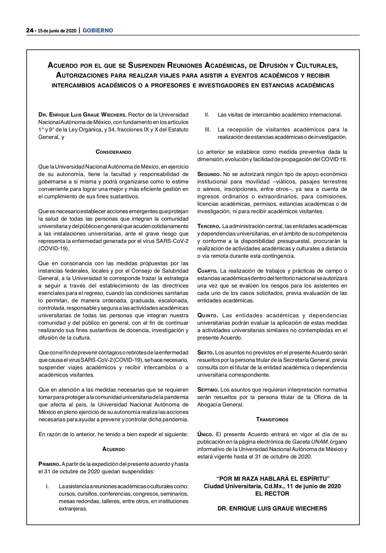 acuerdo suspenden actividades académicas 2020