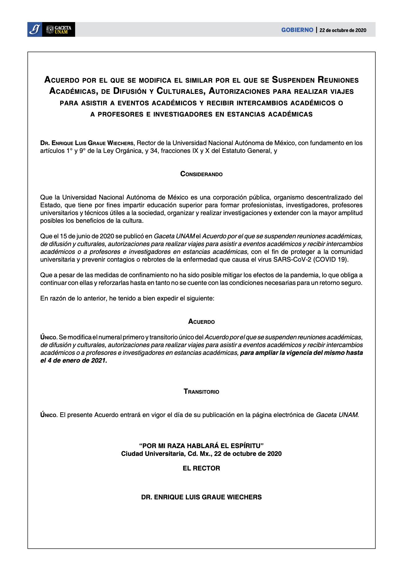 acuerdo suspenden actividades académicas 2020  oct 22