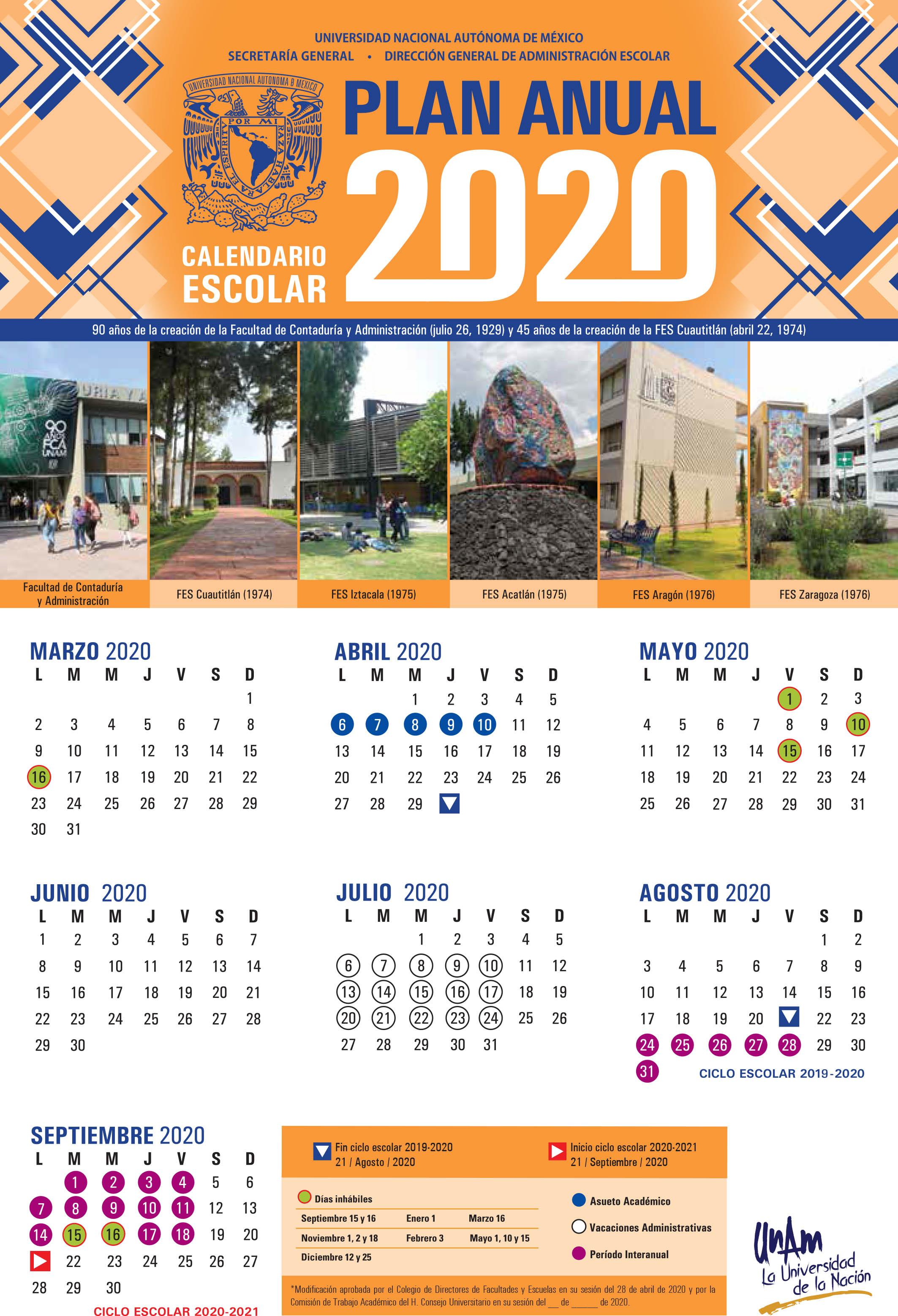 Aprueba la Comisión de Trabajo Académico del CU de la UNAM la modificación al calendario escolar 2020