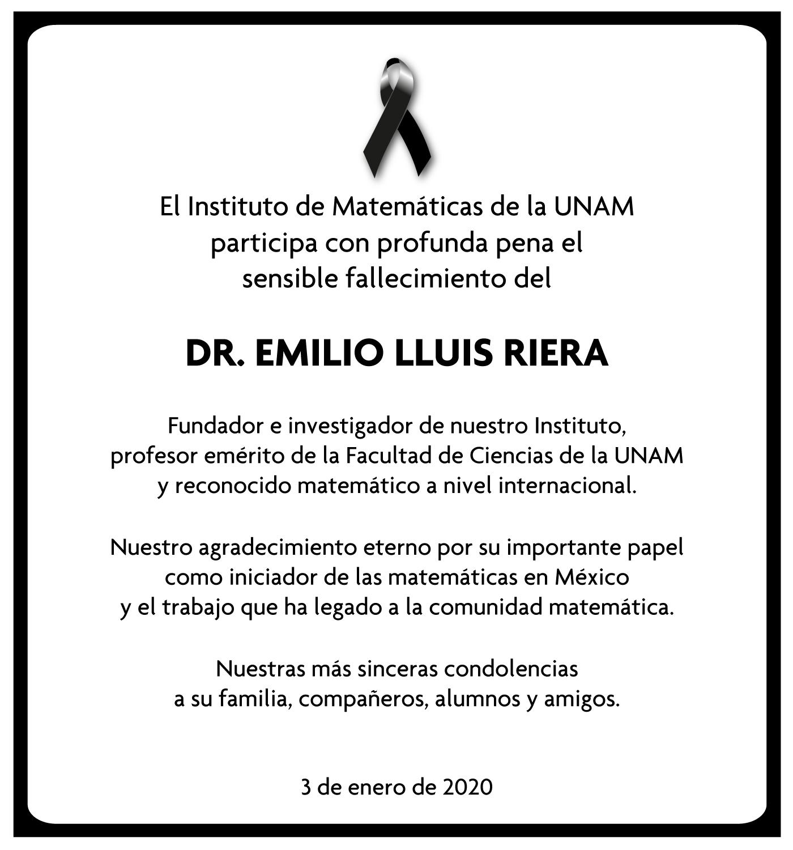 Fallece el Dr. Emilio Lluis Riera, fundador del Instituto de Matemáticas