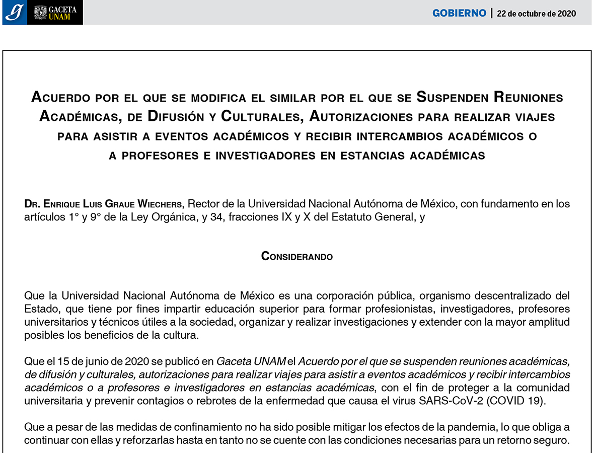 La UNAM amplía plazo de suspensión de reuniones