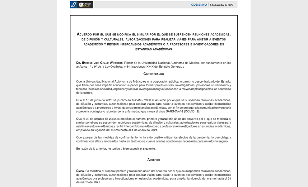 La UNAM extiende la suspensión de reuniones académicas, viajes al extranjero e intercambios académicos