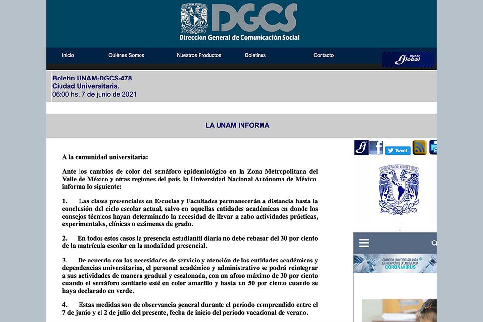 La UNAM informa: medidas de observancia general entre 7 de junio y 2 de julio