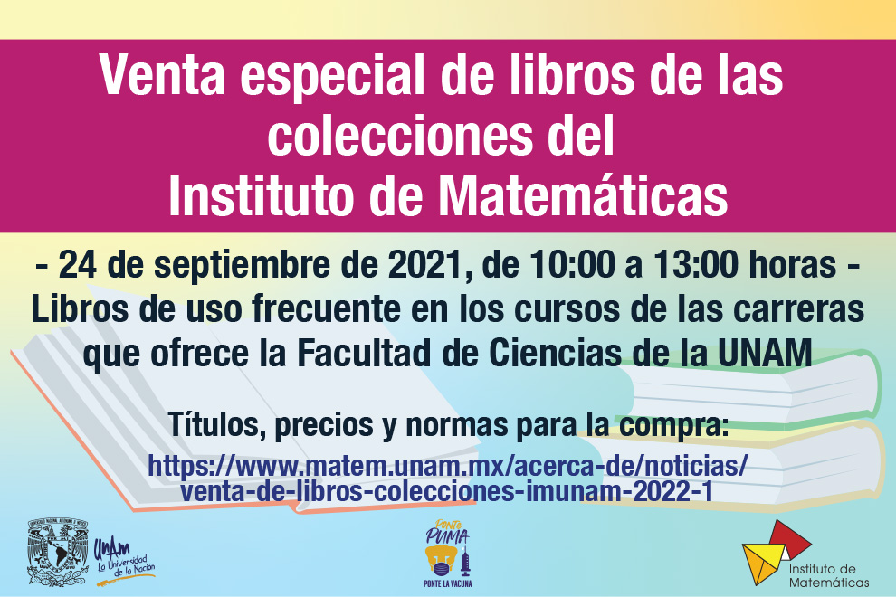 Venta de libros colecciones IMUNAM 2022-1