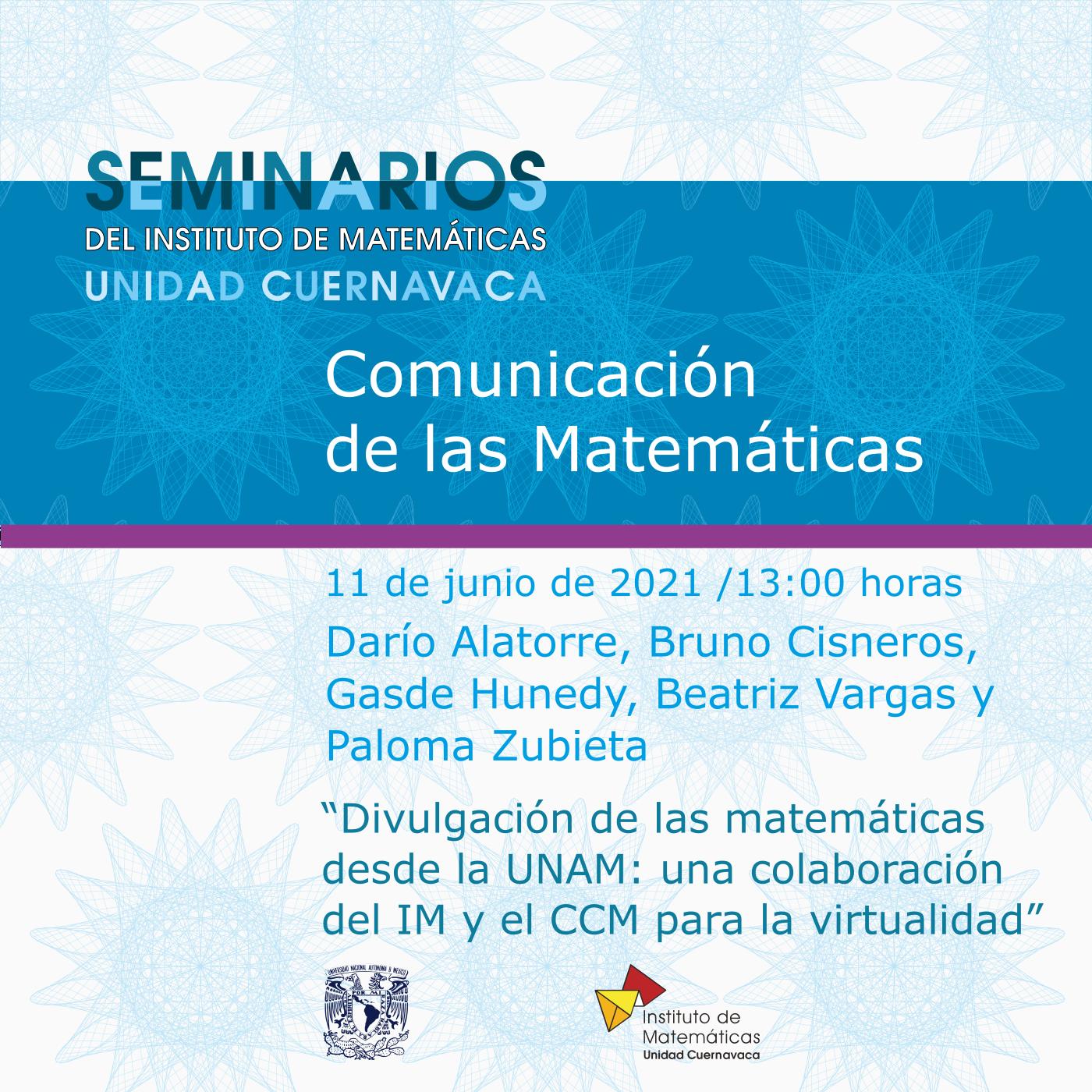 Seminario Comunicación de las Matemáticas - 11 de junio