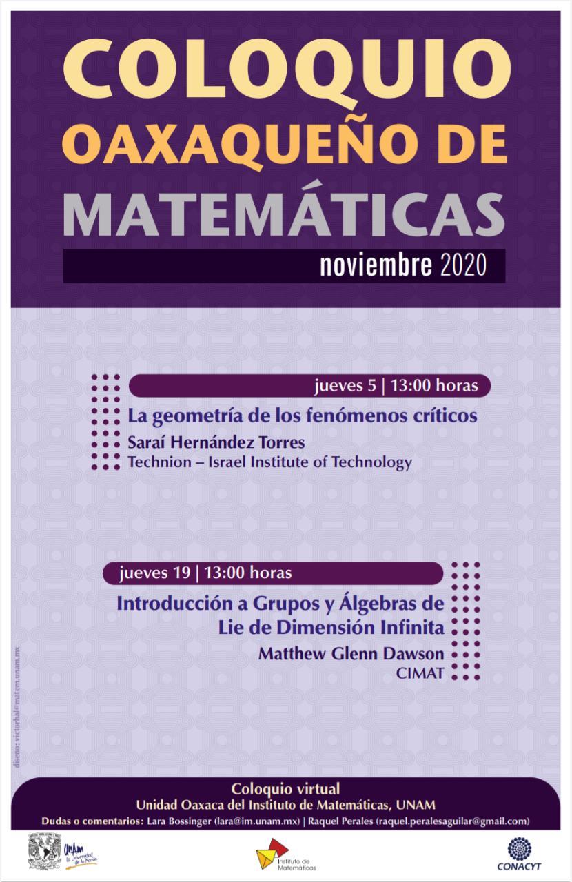 Coloquio Oaxaqueño de Matemáticas, Noviembre 2020