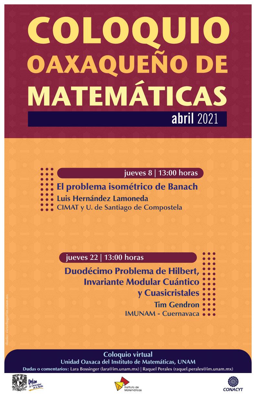 Coloquio Oaxaqueño de Matemáticas, abril 2021