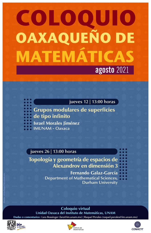 Coloquio Oaxaqueño de Matemáticas, agosto 2021