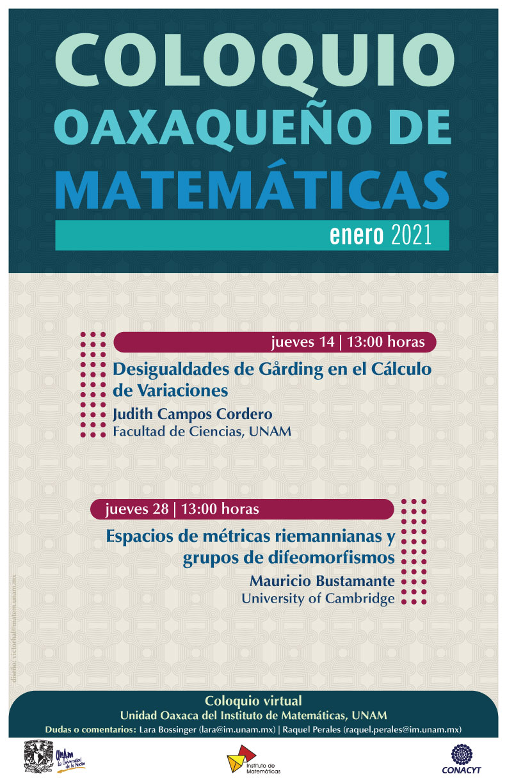 Coloquio Oaxaqueño de Matemáticas, Enero 2021