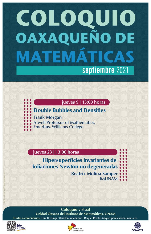 Coloquio Oaxaqueño de Matemáticas, septiembre 2021