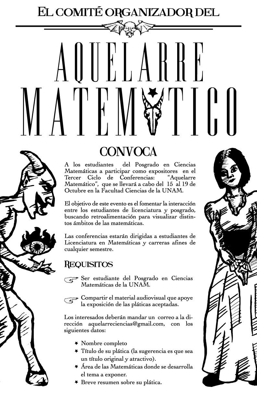 """Convocatoria para 3er ciclo del """"Aquelarre Matemático"""""""