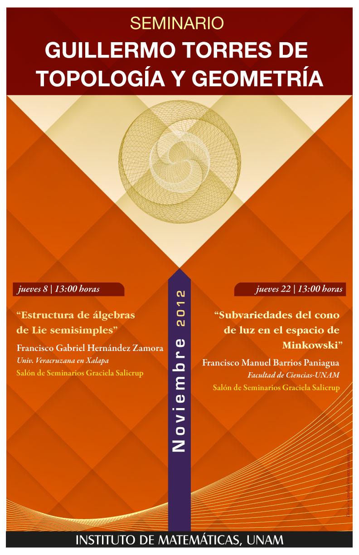 Noviembre: Seminario Guillermo Torres de Topología y Geometría