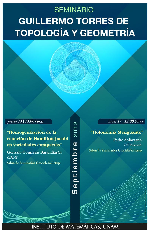 Septiembre: Seminario Guillermo Torres de Topología y Geometría