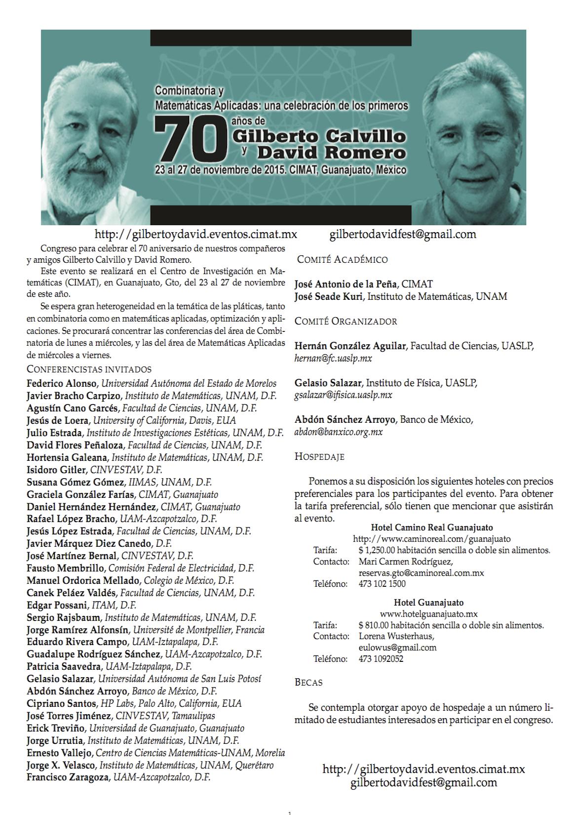 Combinatoria y Matemáticas Aplicadas: una celebración de los primeros 70 años de Gilberto Calvillo y David Romero
