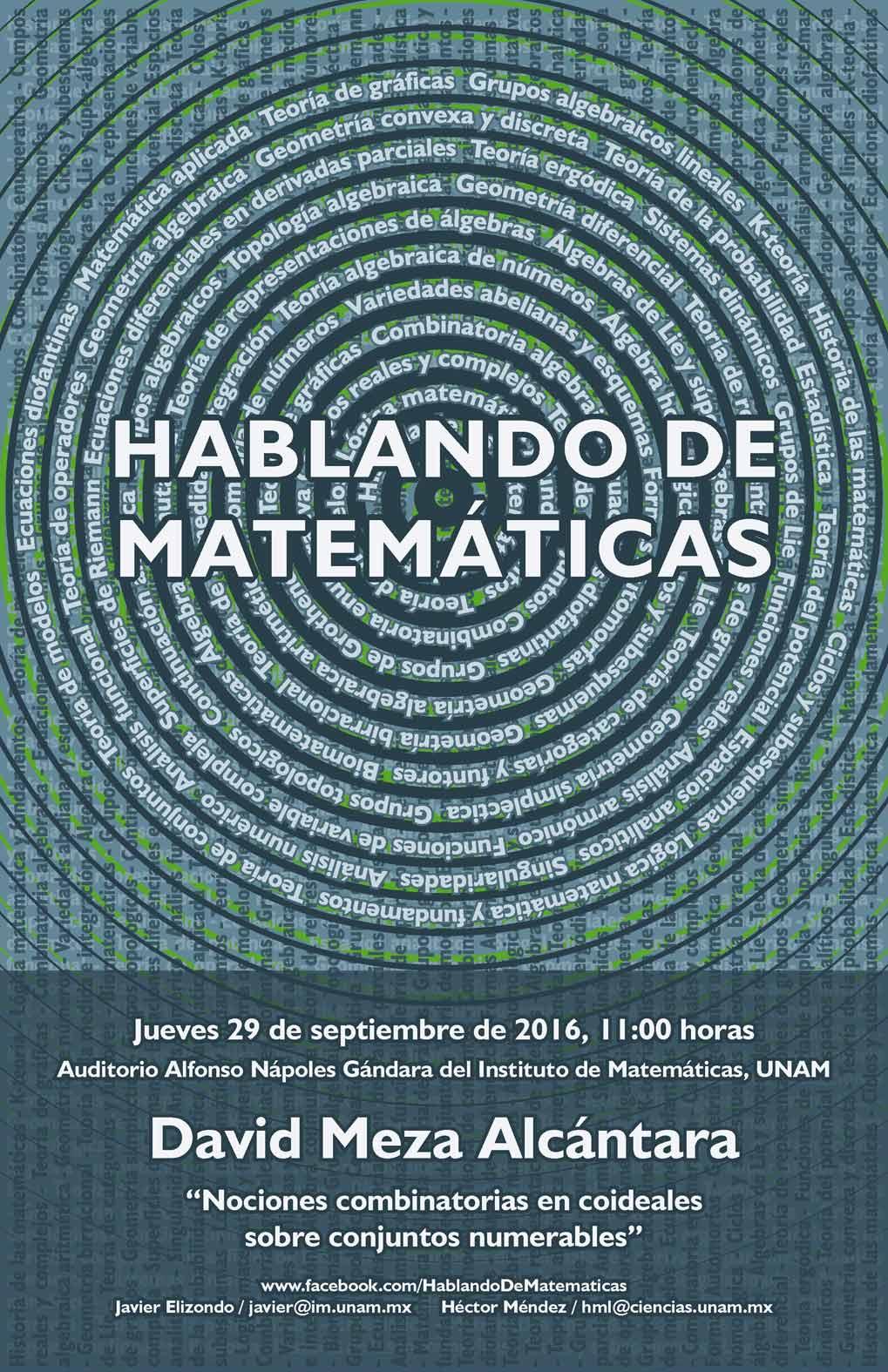 HABLANDO DE MATEMÁTICAS: David Meza Alcántara, Facultad de Ciencias, UNAM