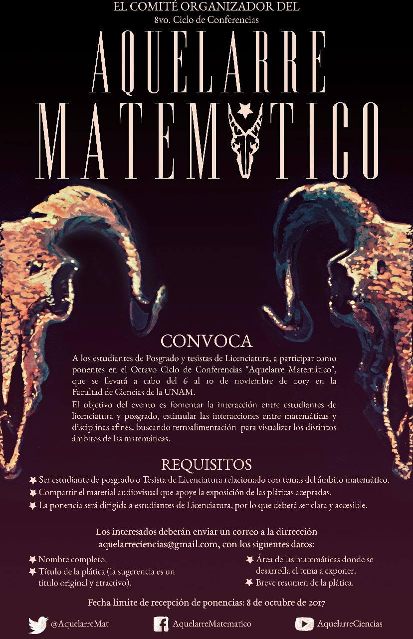 """Convocatoria para octavo ciclo del """"Aquelarre Matemático"""""""
