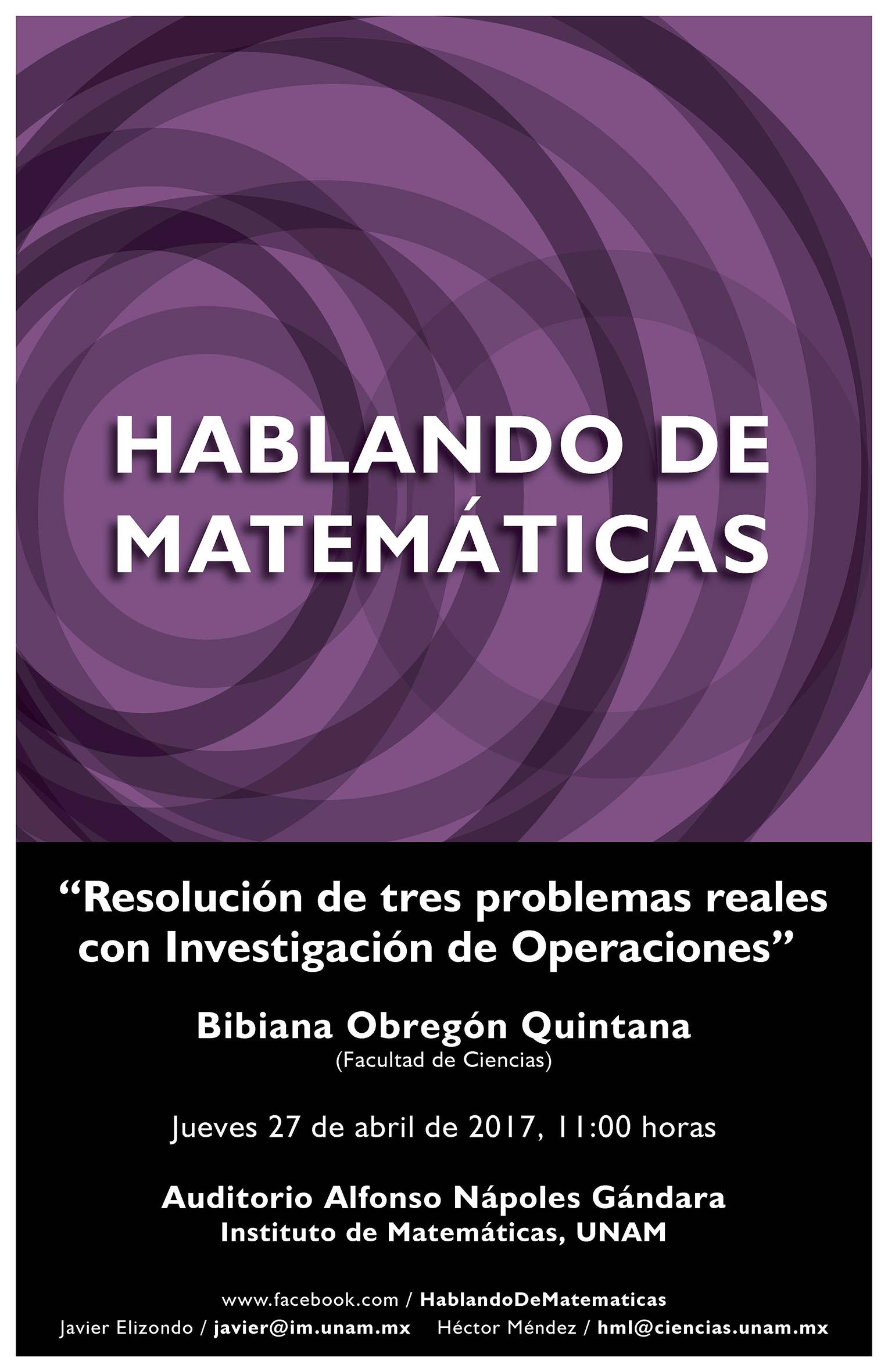 Hablando de Matemáticas: Bibiana Obregón Quintana, Facultad de Ciencias, UNAM
