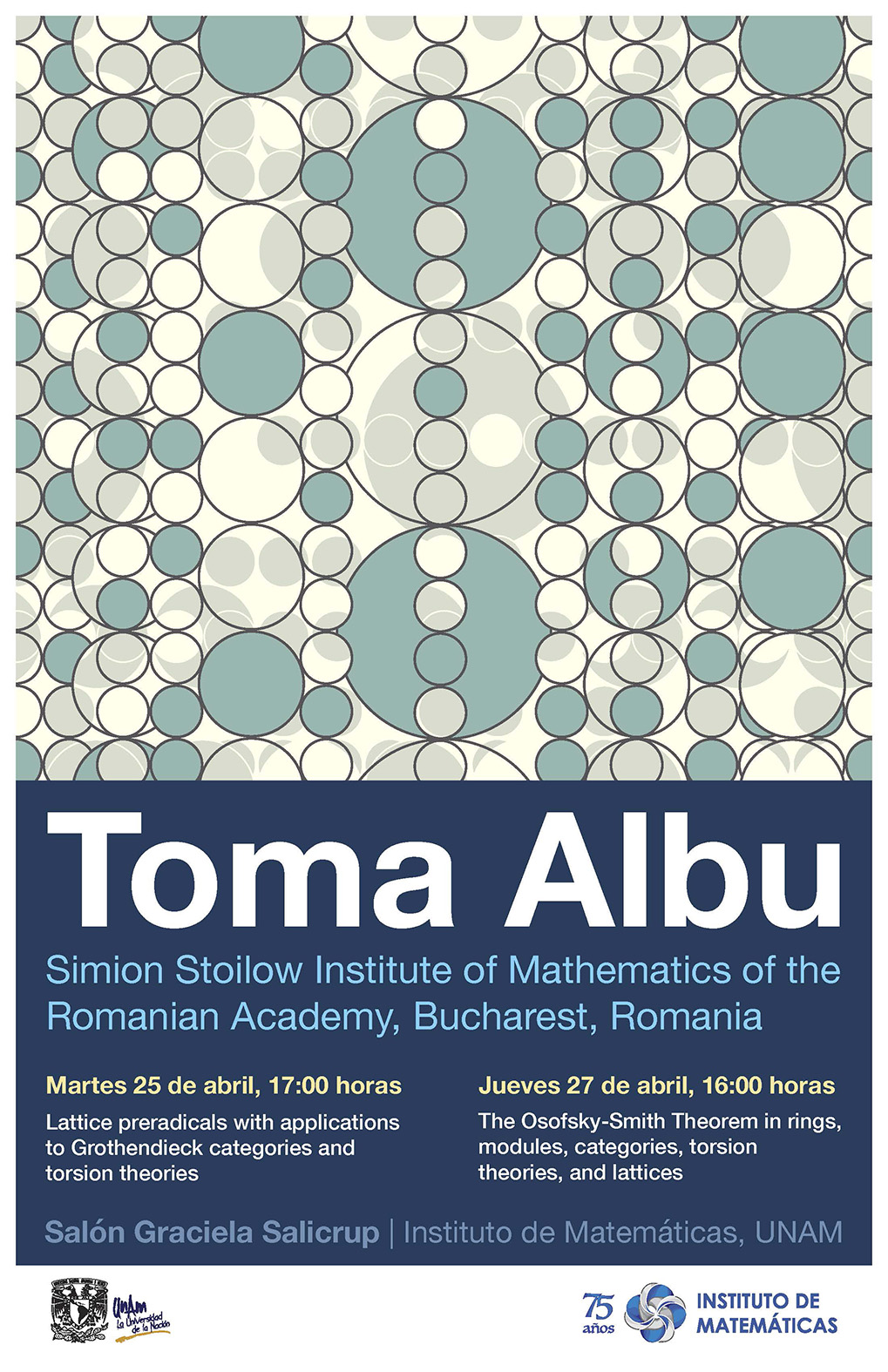 Pláticas con Toma Albu, Simion Stoilow Institute of Mathematics of the Romanian Academy, Bucharest, Romania