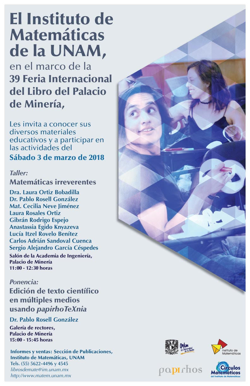 En marzo: Presentaciones del IMUNAM en la Feria Internacional del Libro de Palacio de Minería