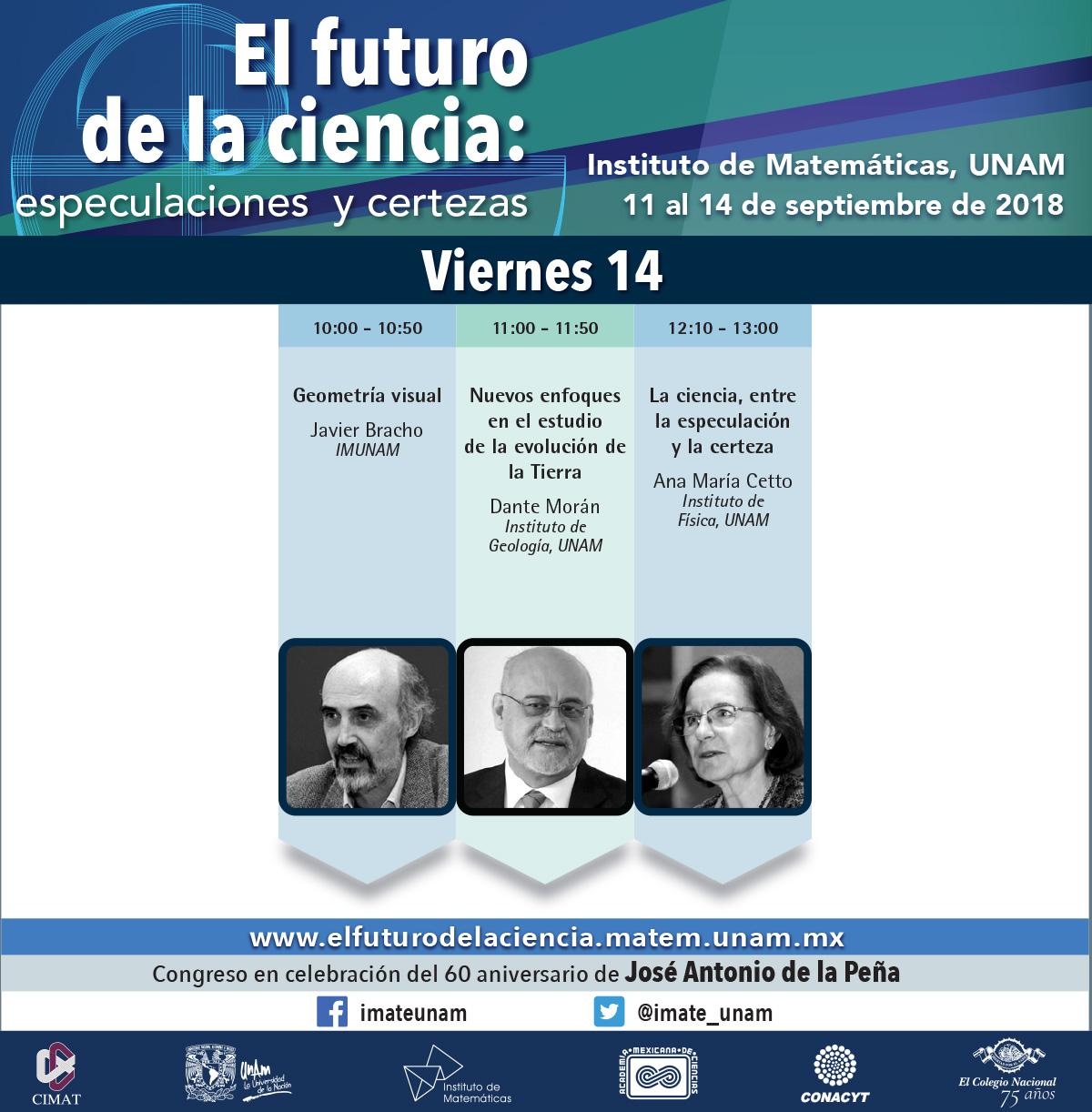 """Programa de actividades del """"El futuro de la ciencia: especulaciones y certezas"""""""