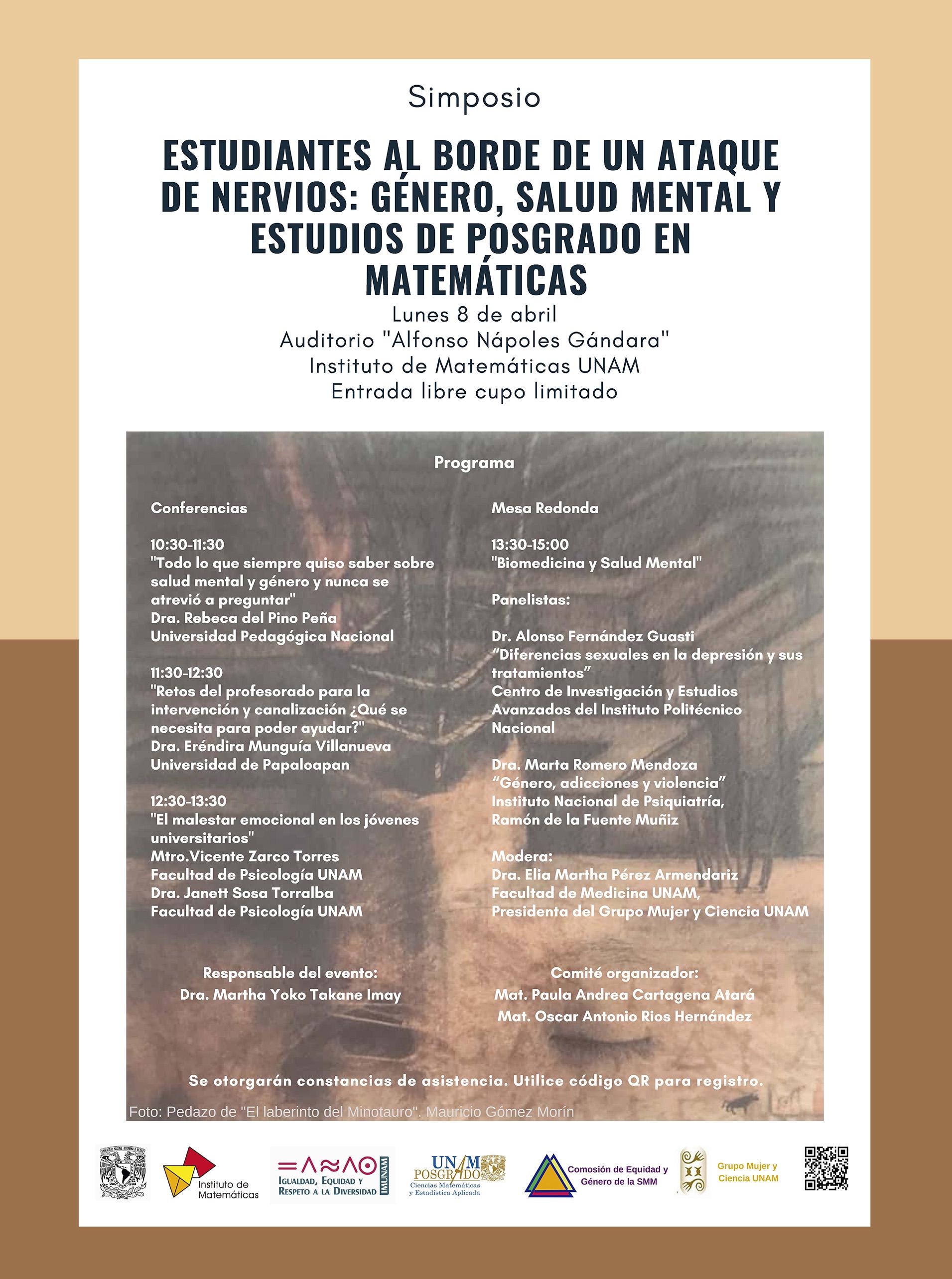 Simposio: Estudiantes al borde de una ataque de nervios: Género, salud mental y estudios de posgrado en matemáticas