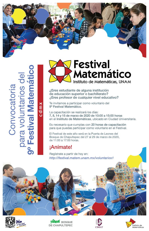 Convocatoria para voluntarios del 9o Festival Matemático cdmx