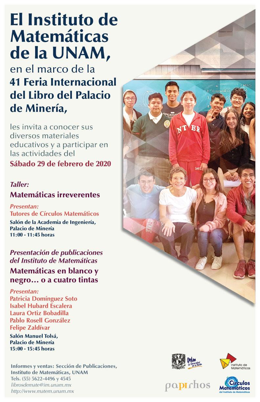 En febrero: Presentaciones del IMUNAM en la Feria Internacional del Libro de Palacio de Minería