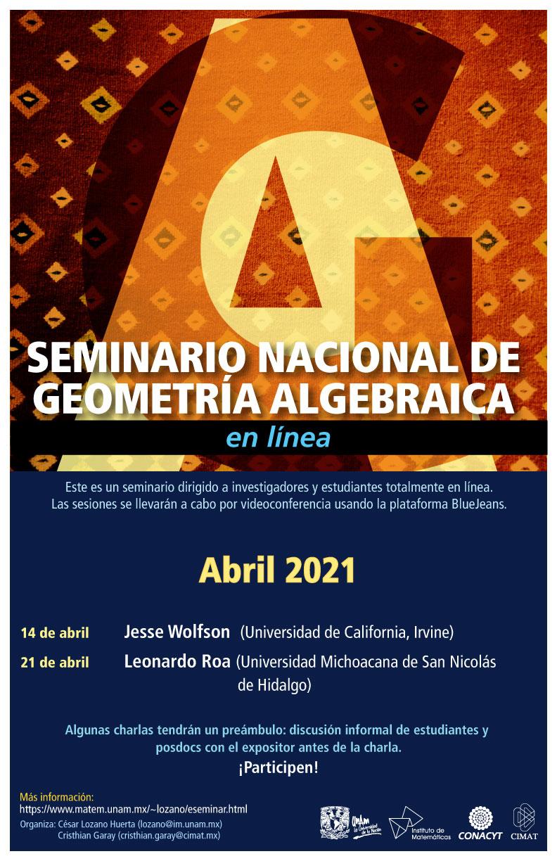 Seminario Nacional de Geometría Algebraica en línea: abril
