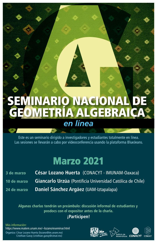 Seminario Nacional de Geometría Algebraica en línea: Marzo