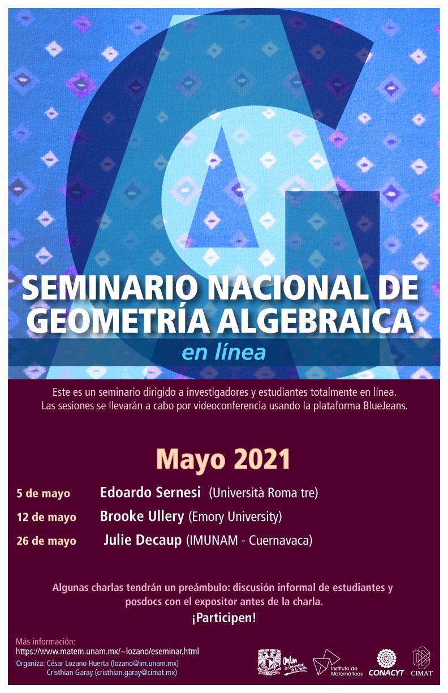 Seminario Nacional de Geometría Algebraica en línea: mayo