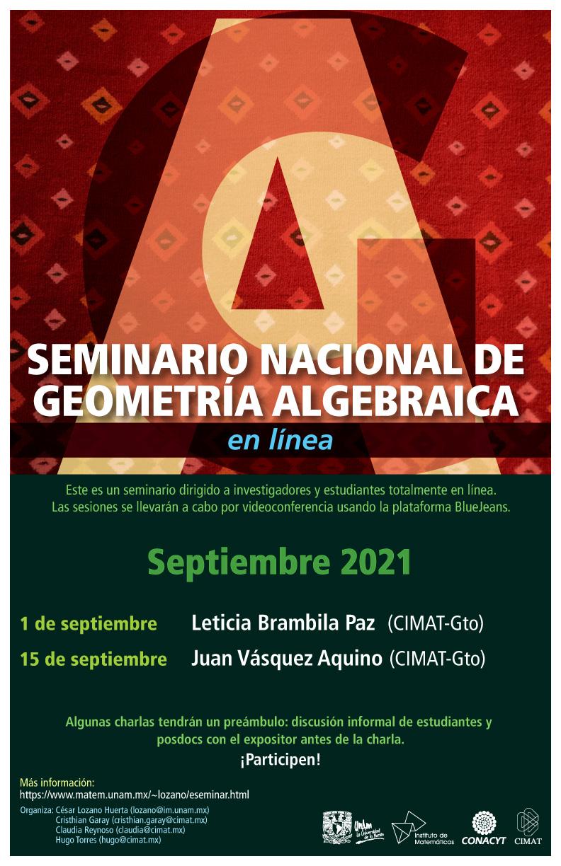 Seminario Nacional de Geometría Algebraica en línea: septiembre