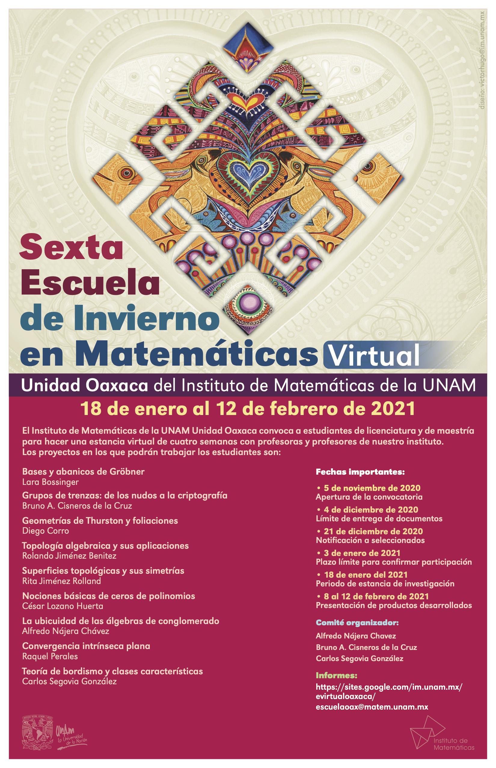 Sexta Escuela de Invierno de Matemáticas en Oaxaca - Virtual -