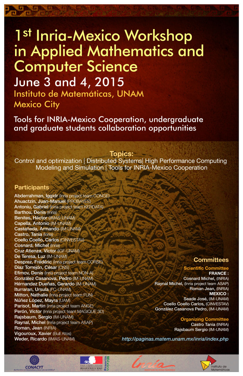 First Inria-Mexico Workshop in Applied Mathematics and Computer Science