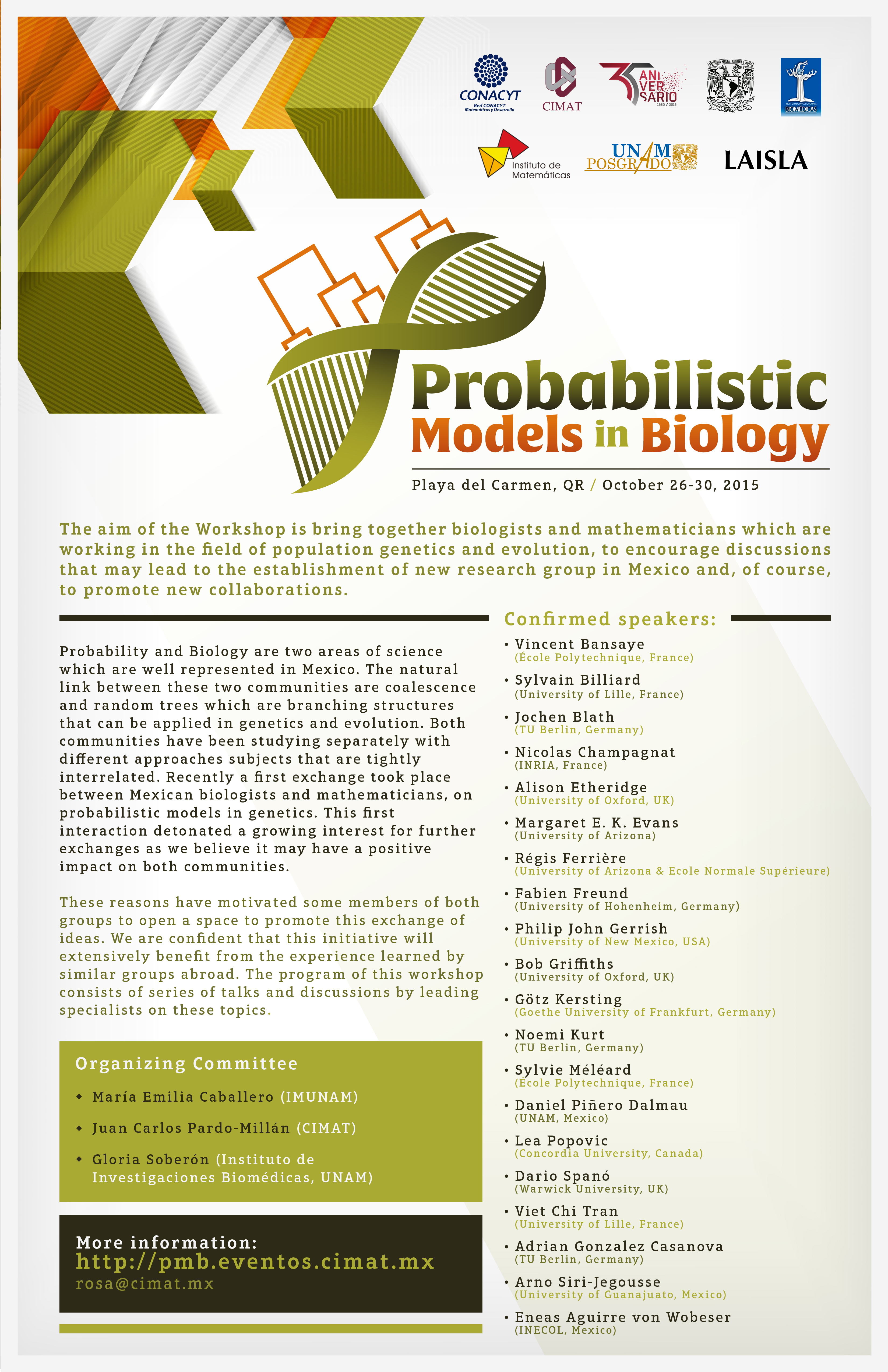 Workshop of probabilistic Models in Biology