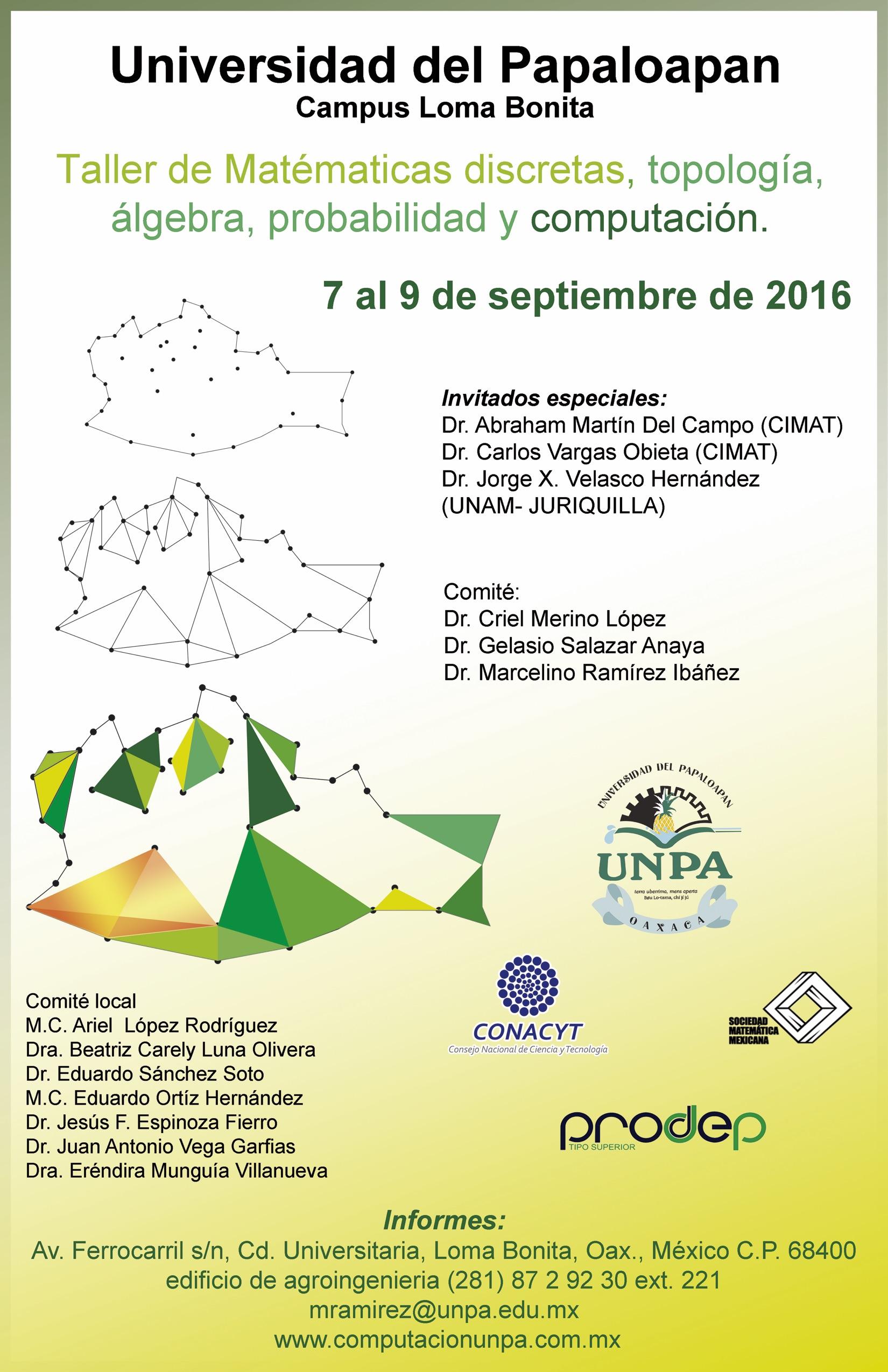 """Se llevará a cabo del 07 al 09 de septiembre de 2016 en la Universidad de Papaloapan, Loma Bonita, Oaxaca. <br/> <a href=""""http://computacionunpa.com.mx/""""> http://computacionunpa.com.mx/ </a>"""