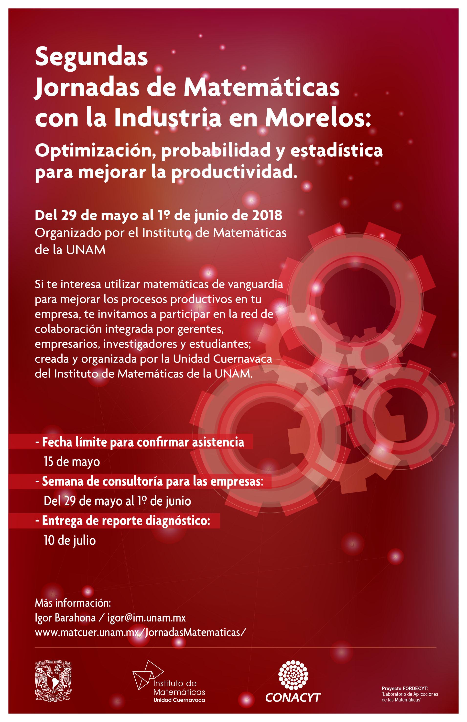 Segundas Jornadas de Matemáticas con la Industria en Morelos