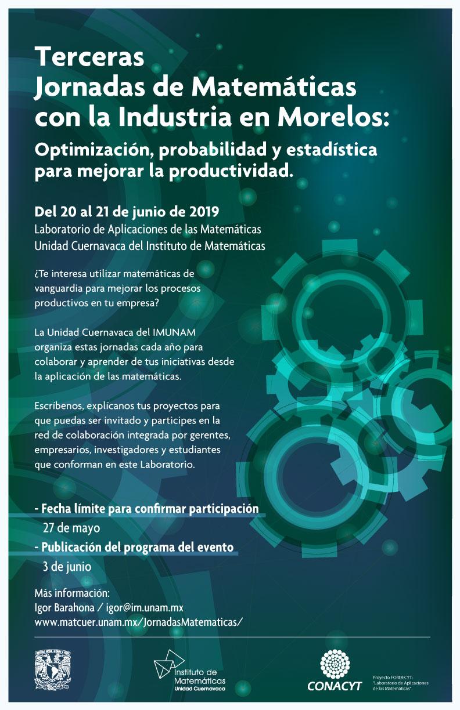 Terceras Jornadas de Matemáticas con la Industria en Morelos: Optimización, probabilidad y estadística para mejorar la productividad
